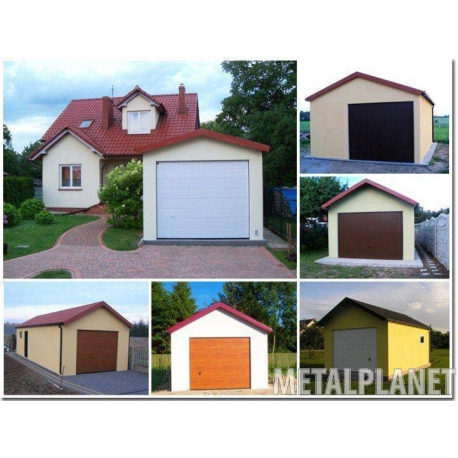 Garage metal plastered single station with a gable roof.