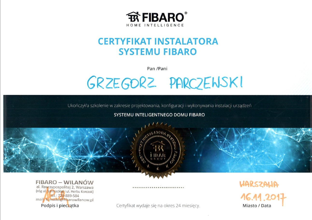 Certyfikat Fibaro